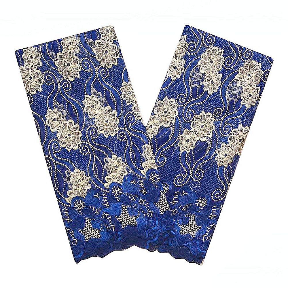 LadyQ Tulle African Net Lace Fabric with Beads and Stones Green Latest African Lace Fabric 2019 French Wedding Bridal Lace Fabric 854LD (Blue) by LadyQ