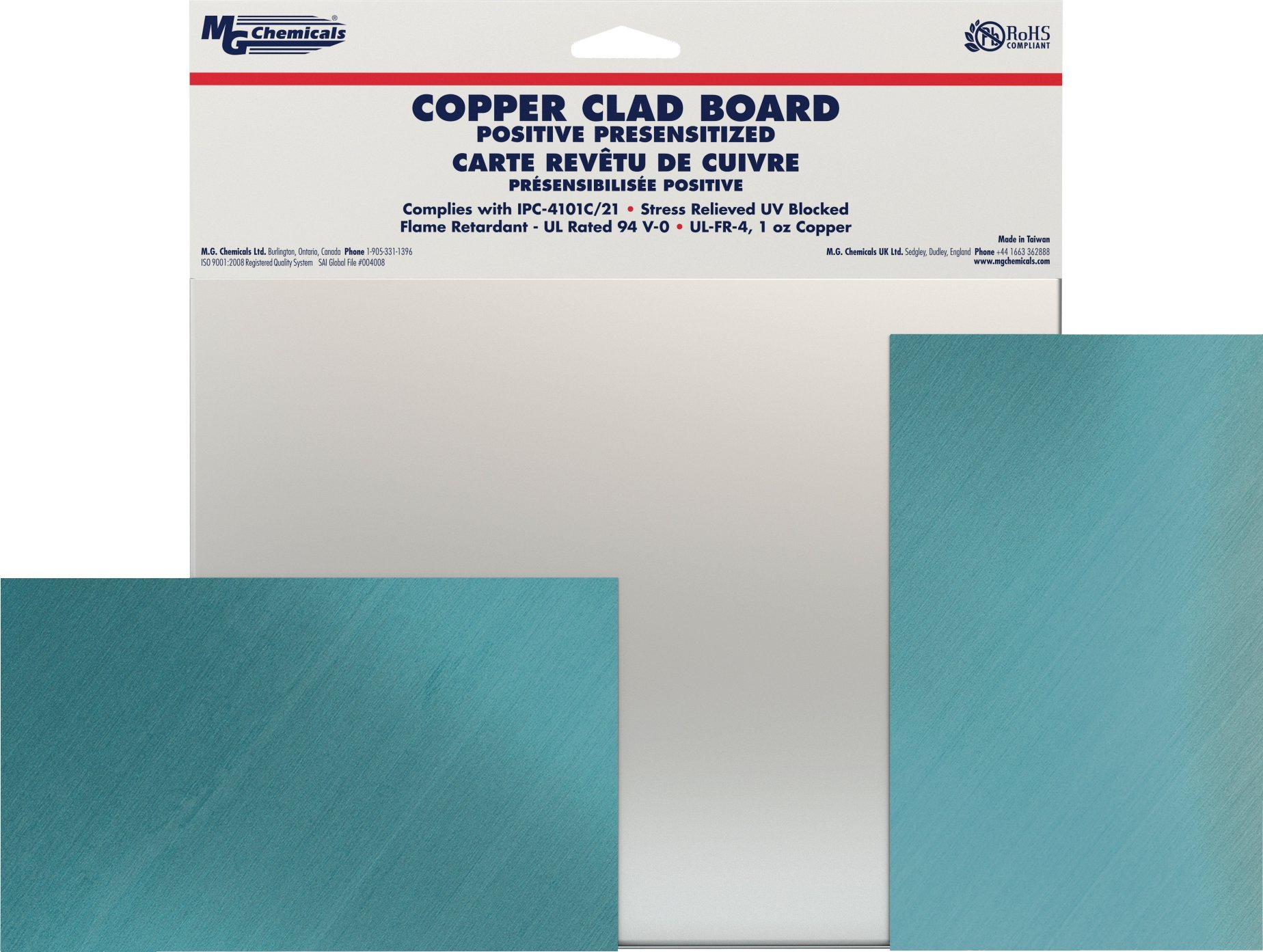 MG Chemicals 660 Positive Presensitized Copper Clad Board, Double Sided, 9'' x 6'', 1 oz Copper, 1/16'' Thick, FR4
