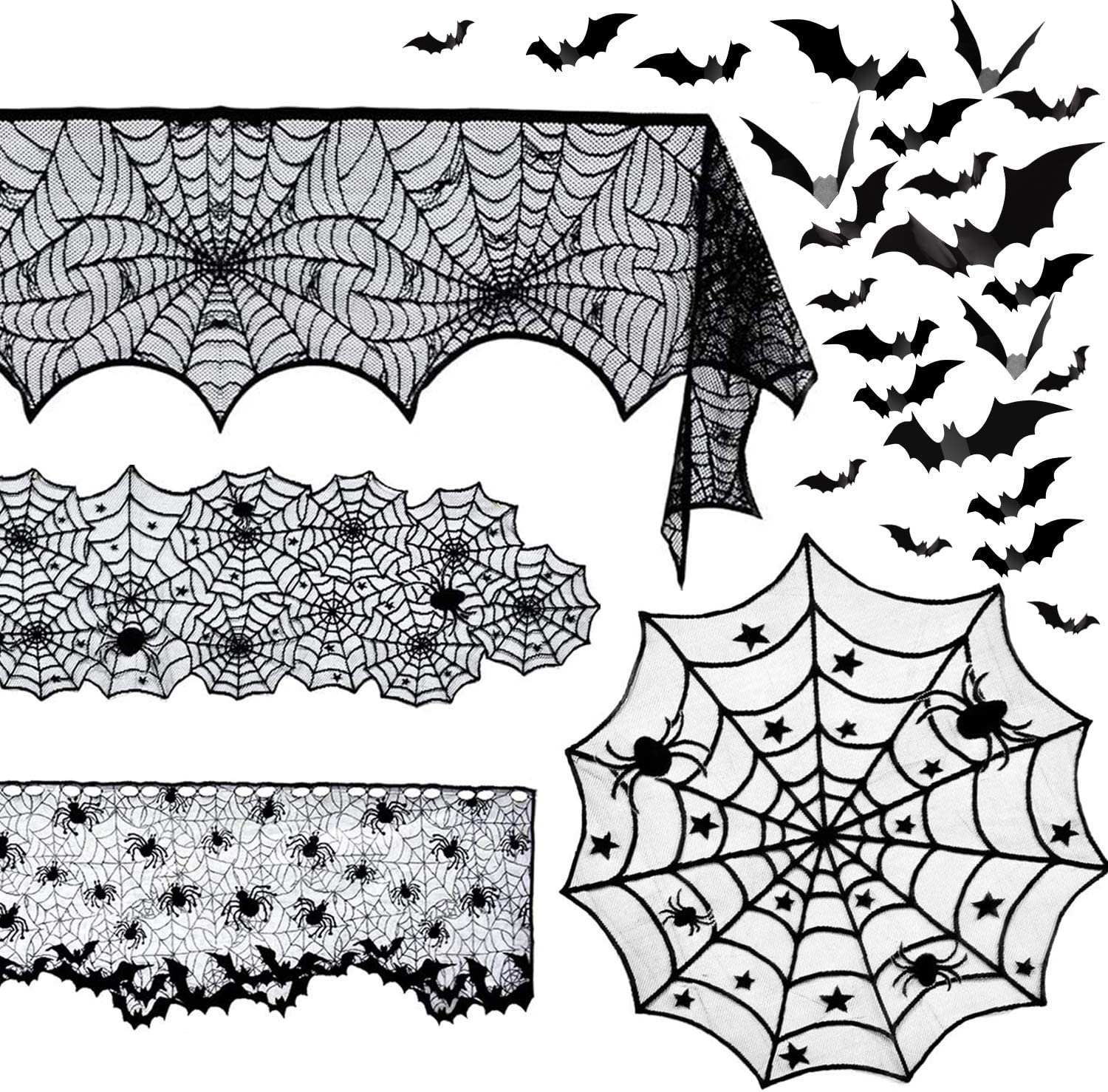 5 Pack Halloween Spider Decorations Sets -Halloween Fireplace Mantel Scarf & Round Table Cover & Lace Table Runner & Cobweb Lampshade & 60 pcs Scary 3D Bat for Halloween Party Decors