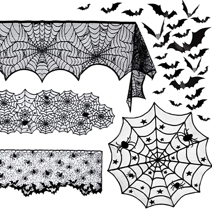 Beeager 5 Pack Halloween Spider Decorations Sets -Halloween Fireplace Mantel Scarf & Round Table Cover & Lace Table Runner & Cobweb Lampshade & 60 pcs Scary 3D Bat for Halloween Party Decors