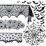 Beeager 5 Pack Halloween Spider Decorations Sets -Halloween Fireplace Mantel Scarf & Round Table Cover & Lace Table…