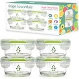 Glass Baby Food Storage Jars | Stronger Than Regular Glass | Set of 4 Bowls with Snap Lids | 7oz | BPA, Lead, Phthalate…