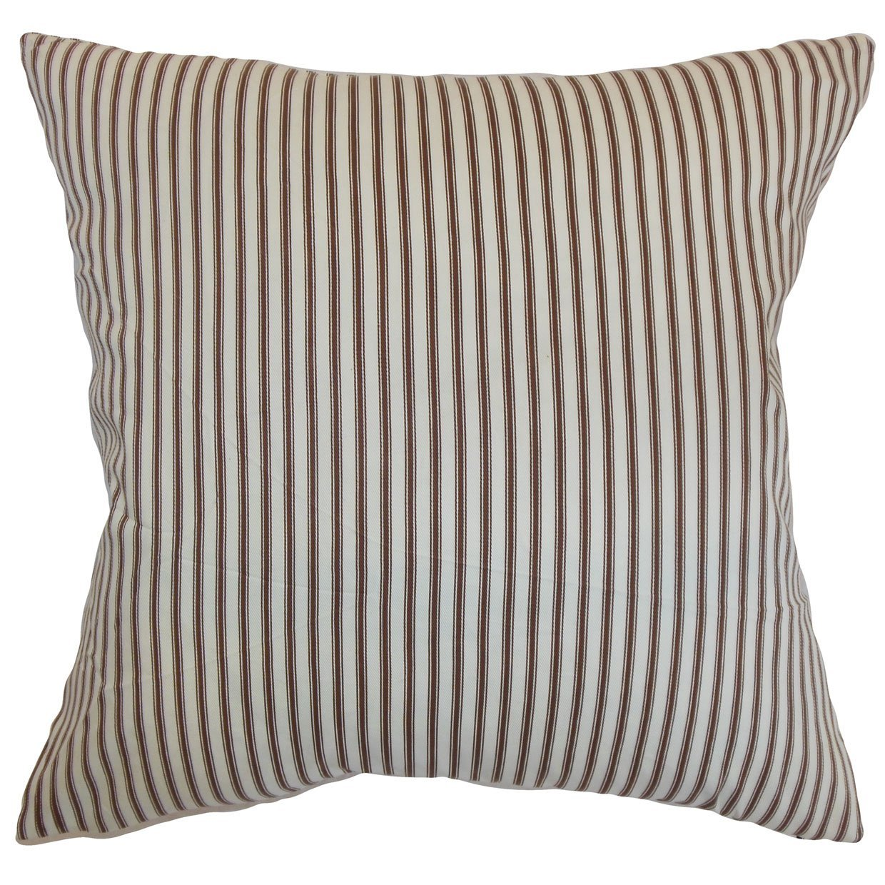 The Pillow Collection Daxiam Stripes Bedding Sham Brown White King//20 x 36