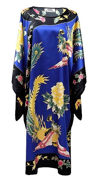 Kimono azul vestido de interior chino para mujer estilo boubou - bata elegante motivo phoenix talla