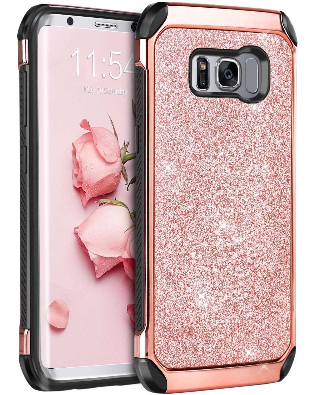 best website 04c8a ba8e3 BENTOBEN Silicone Case for Samsung Galaxy S8, Galaxy S8 Case Glitter, Dual  Layer Luxury Bling Hybrid Hard PC with Sparkly Faux Leather Shockproof ...