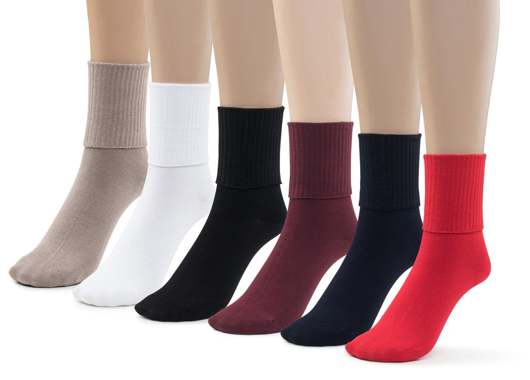 Silky Toes 6 Pk Triple Roll Bamboo School Socks, Turn Cuff Girls Boys Casual Crew Socks (Small (7-8), Assorted (6 Pack)) by Silky Toes (Image #1)