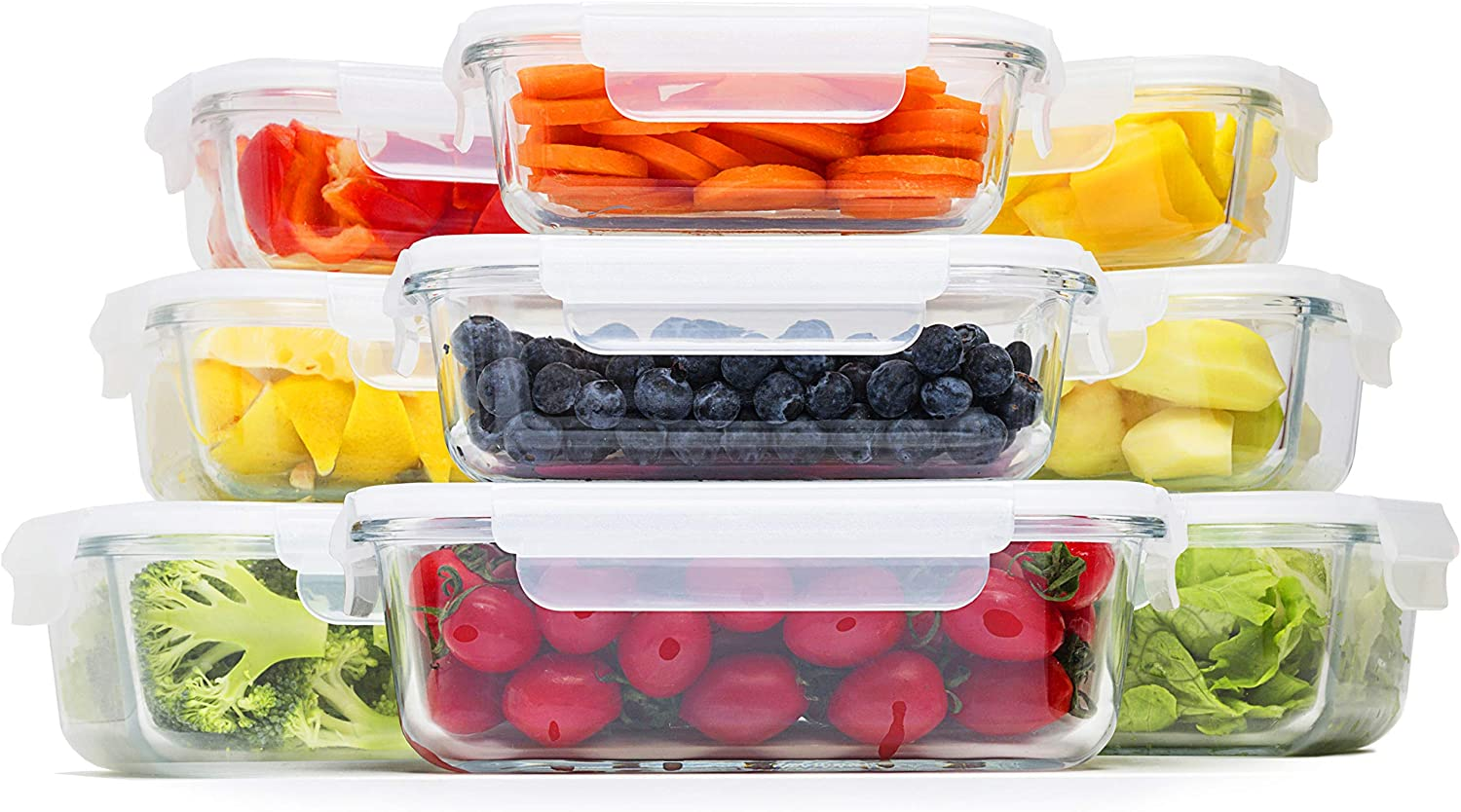Coyacool Glass Food Storage Containers With Lids- Glass Meal Prep Containers with BPA-Free Lids 18 Pieces, 3 Different Sizes with Airtight Lock (13oz x 3, 24oz x 3, 35oz x 3)