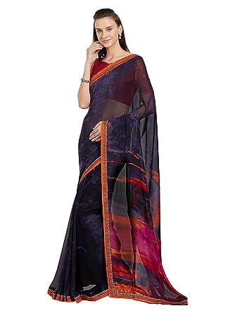 c1de9db97e Women's Faux Georgette Lace Border Printed Saree Mirchi Fashion Indian  Clothes (5411_Navy Blue): Amazon.co.uk: Clothing