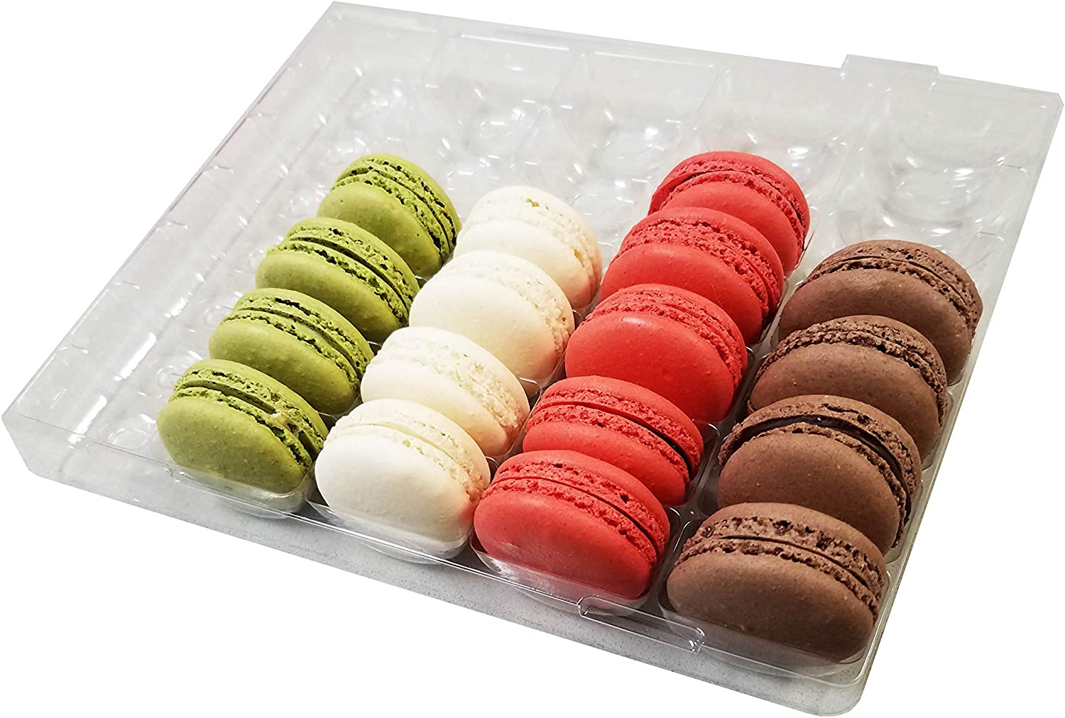 Holds 4 Macarons Pack of 20 Pastry Chef/'s Boutique Cavity Size 1.76 x 1 Clear and Black Base Plastic French Macarons Small Gift Boxes