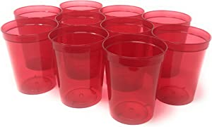 CSBD Stadium 16 oz. Plastic Cups, 10 Pack, Blank Reusable Drink Tumblers for Parties, Events, Marketing, Weddings, DIY Projects or BBQ Picnics, No BPA (Translucent Red)