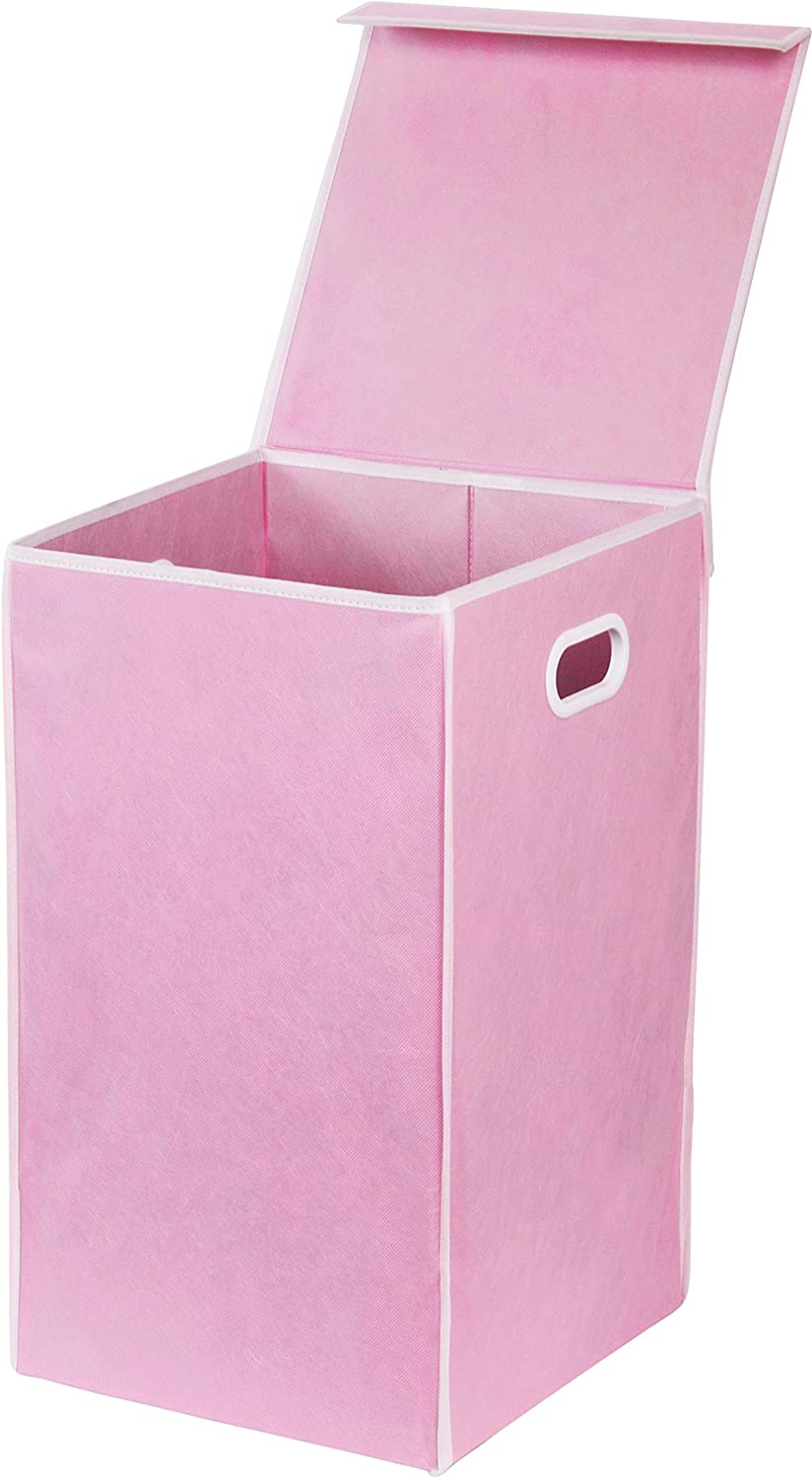 Simple Houseware Foldable Laundry Hamper Basket with Lid, Pink