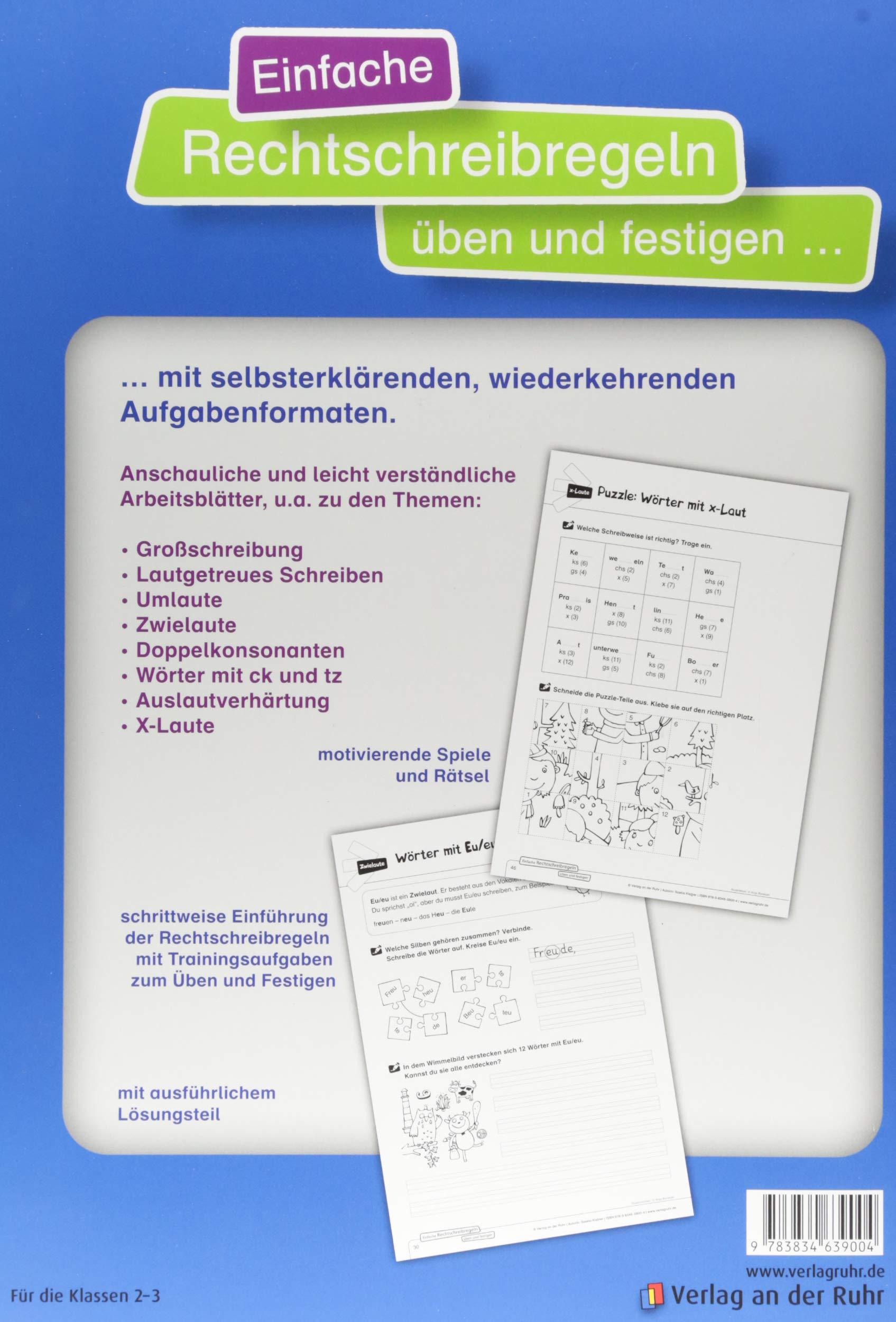 Einfache Rechtschreibregeln üben und festigen: Kopiervorlagen mit Lösungen:  Amazon.de: Saskia Kistner: Bücher