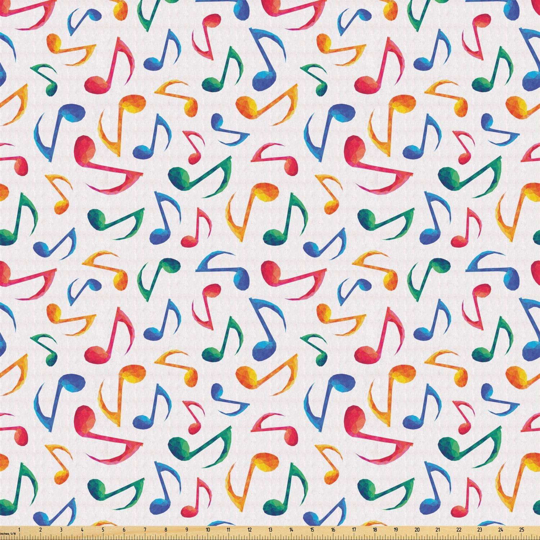 Ambesonne tela de música por yarda, notas musicales melodía niños ...