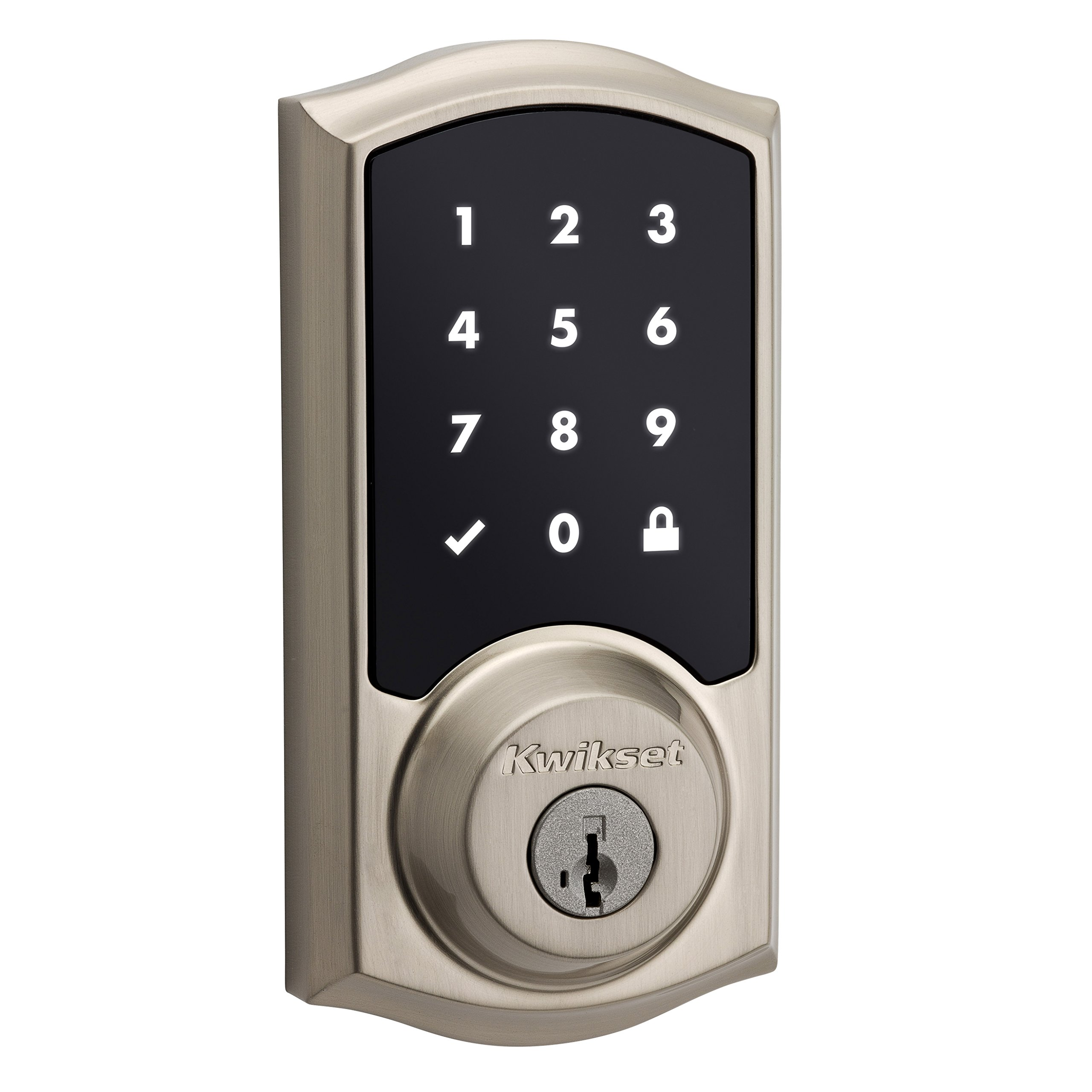 Kwikset 99160-008 SmartCode ZigBee Touchscreen Smart Lock works with Echo Plus & Alexa, featuring SmartKey, Satin Nickel by Kwikset (Image #1)