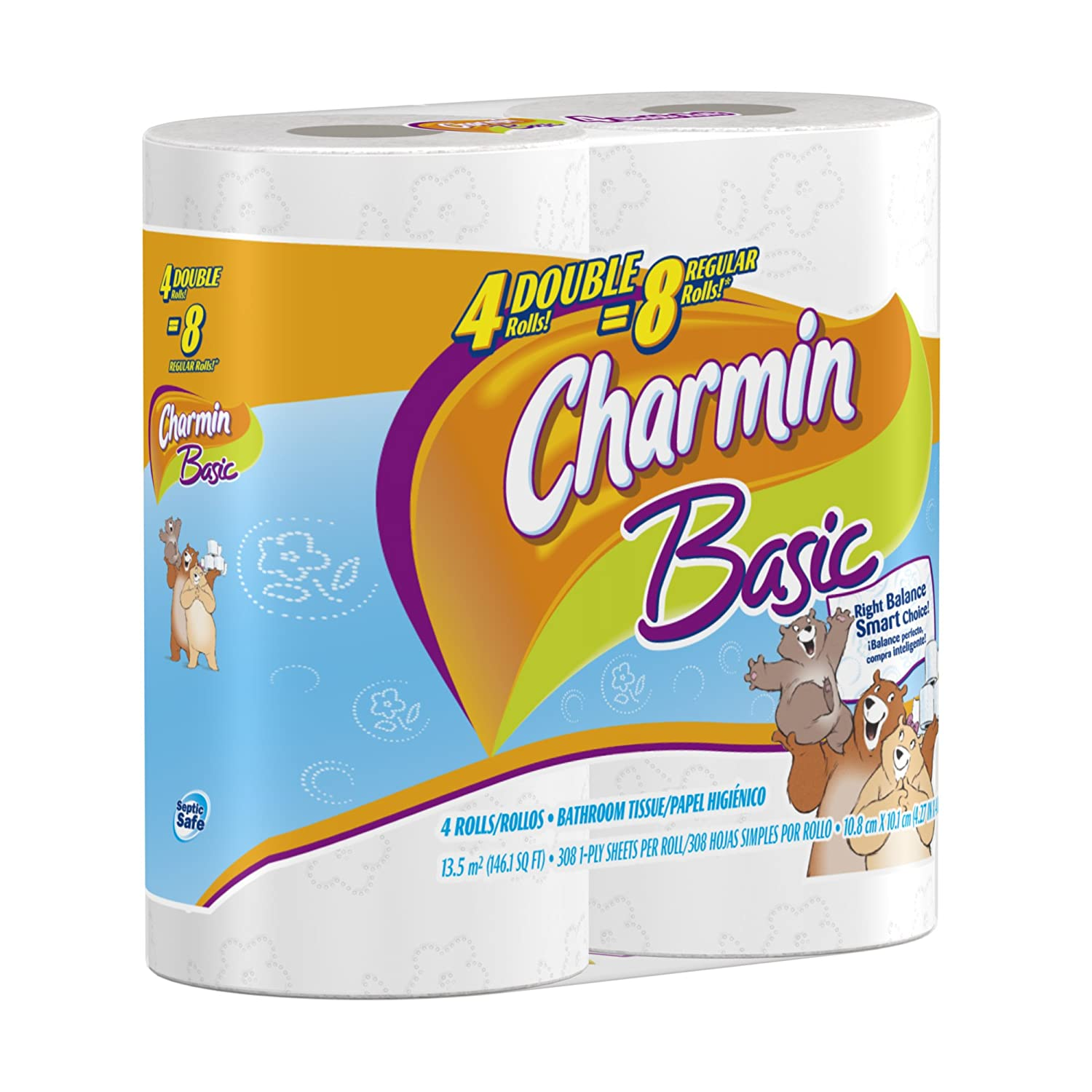 Amazon.com: Charmin Basic Toilet Paper 4 Double Rolls, (Pack of 12 ...