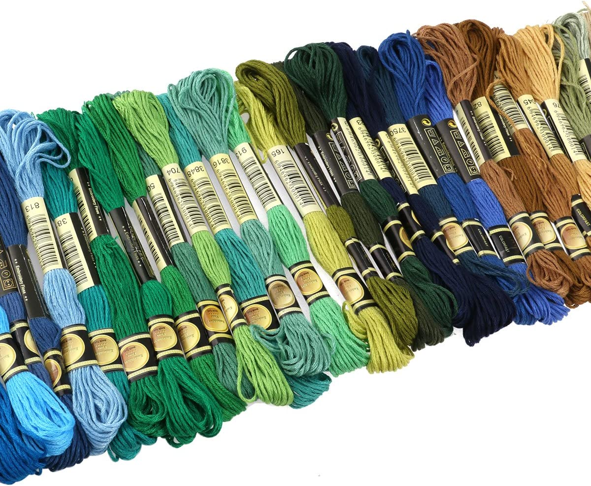 5 Stueck Bambus Stickerei Hoops mit 100 Farben Straenge Stickgarn Floss Kreu GY