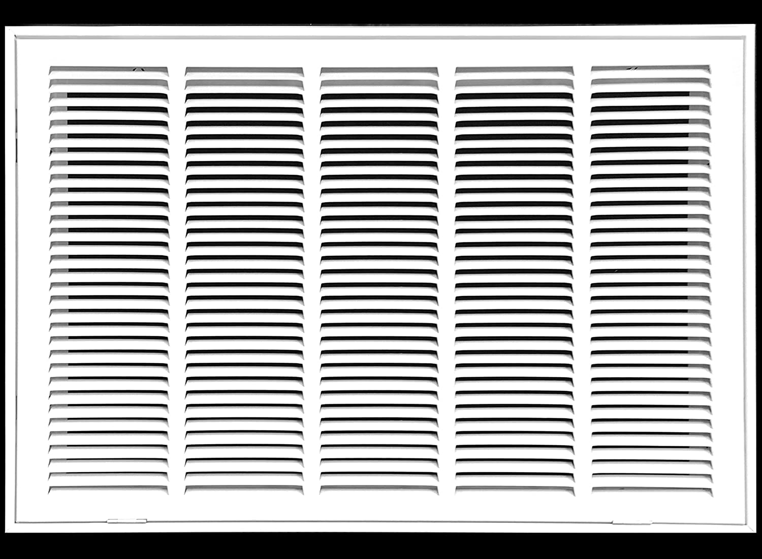 """25"""" X 16 Steel Return Air Filter Grille for 1"""" Filter - Fixed Hinged - Ceiling Recommended - HVAC Duct Cover - Flat Stamped Face - White [Outer Dimensions: 27.5 X 17.75]"""