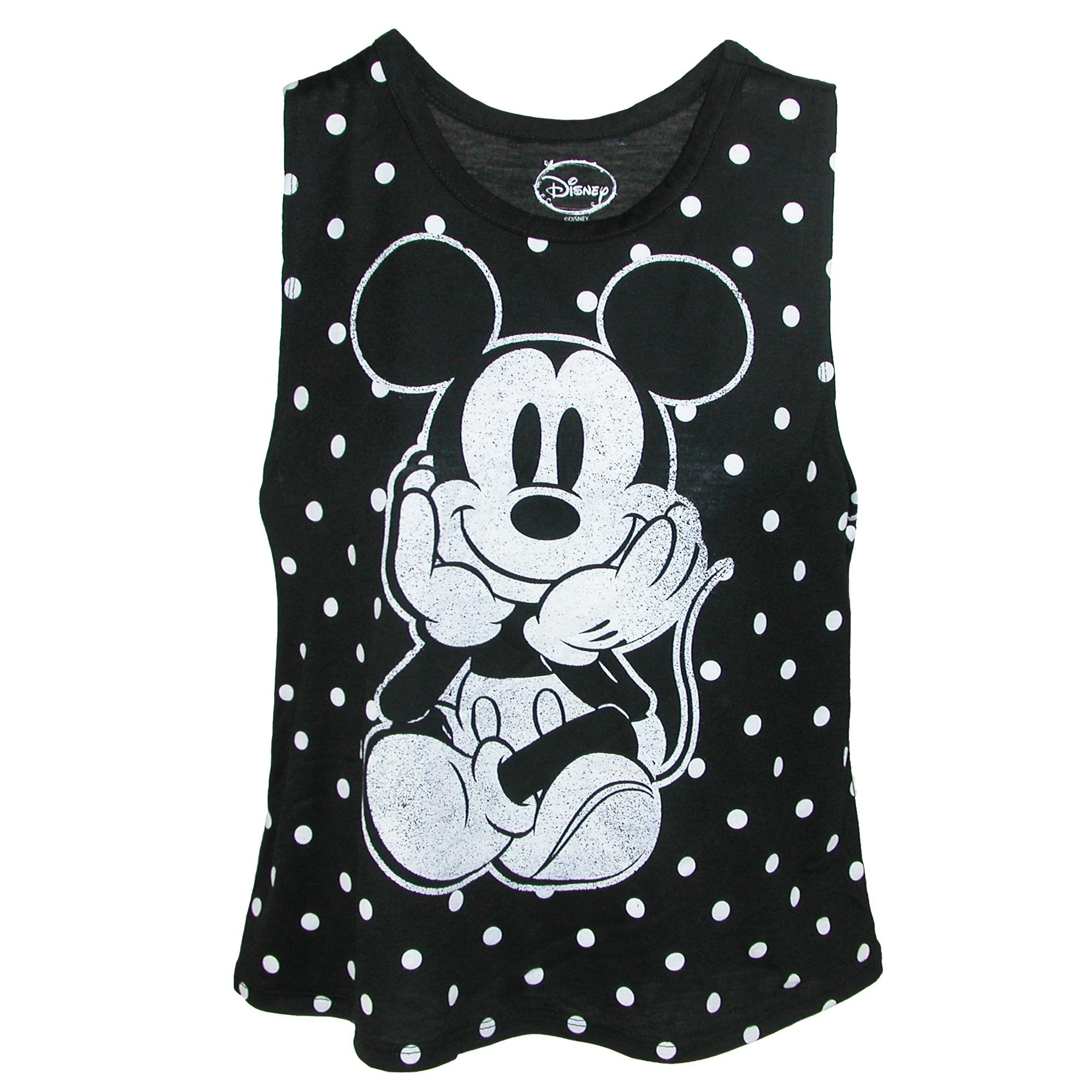 Disney Adult Solo Mickey Mouse Tank Top Black White (Medium)