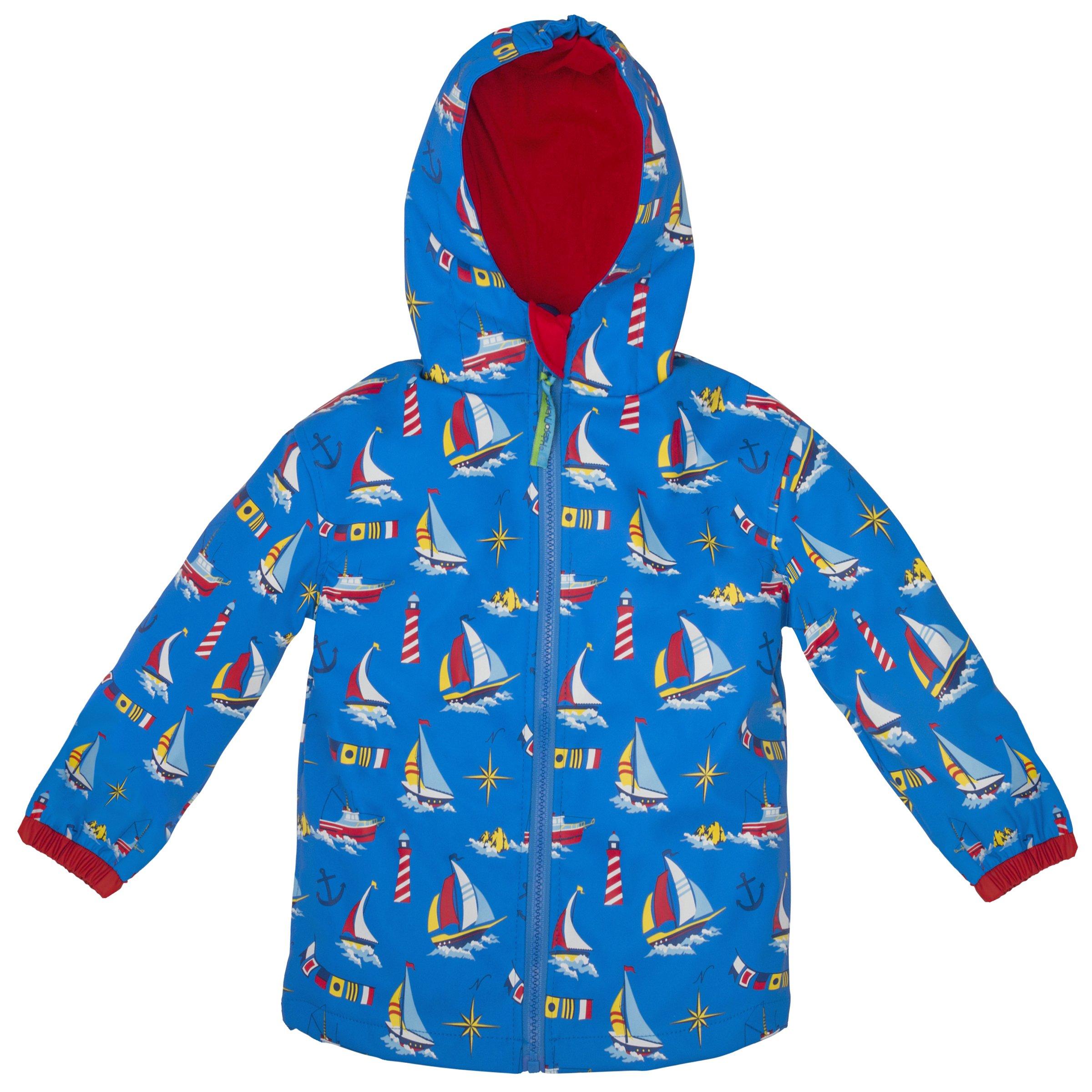 Stephen Joseph Boys' All Over Print Raincoat, Nautical, 4/5