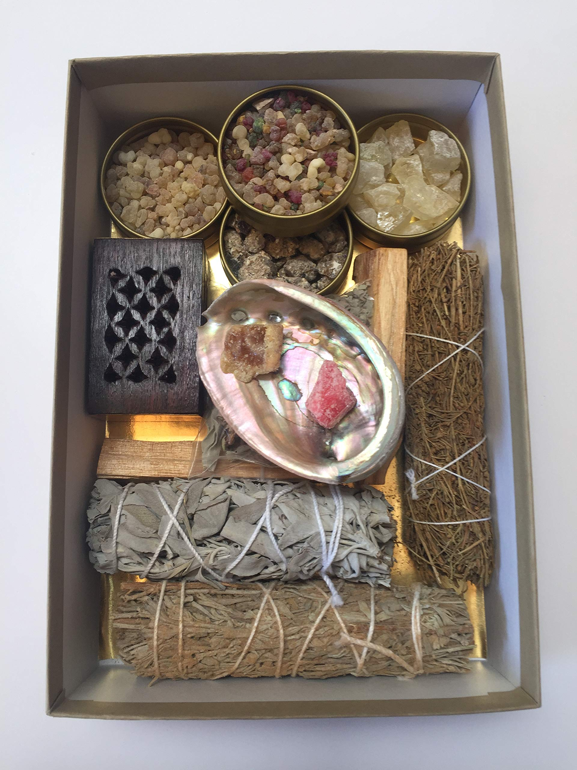 Resin Incense and Sage Smudges Variety Gift Kit includes, Amber Resin, Rose Resin, White Copal, Mystical Benzoin, Frankincense, White Sage Smudge, Desert Sage, Palo Santo Sticks and Abalone Shell by Sacred Scents For You (Image #5)