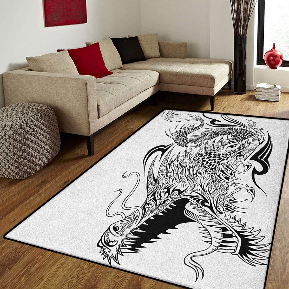 Dragon,Rug,Tatuaje Estilo Tradicional Asiático Alas Criura con ...