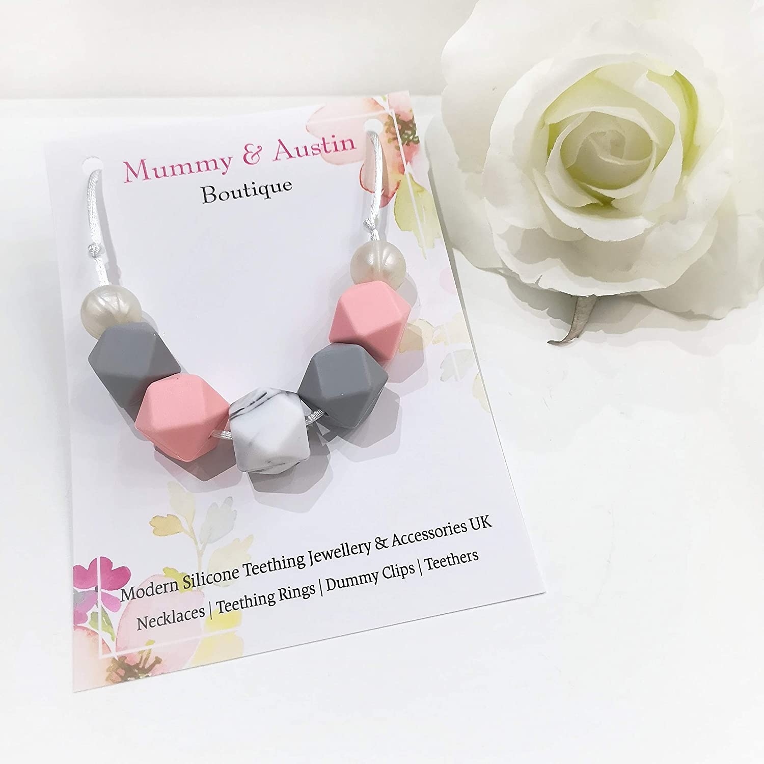 Pink Pebble Teething Necklace Silicone Fiddle Breastfeeding Sensory Jewellery
