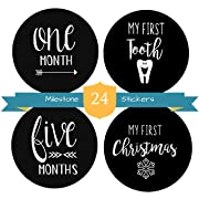 Baby Milestone Stickers - 24 Pack of Monthly Belly Milestones for Onesies - Gender Neutral for Boys & Girls - Months, Milestones, Firsts & Holidays - First Year (4  Round)