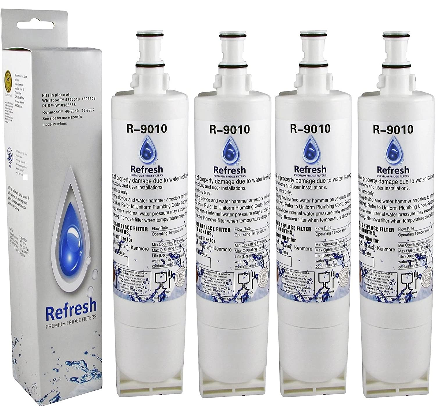 kenmore 469081. amazon.com: kenmore 46-9010, 49-9085 compatible refrigerator replacement water filter (4-pack): home improvement 469081