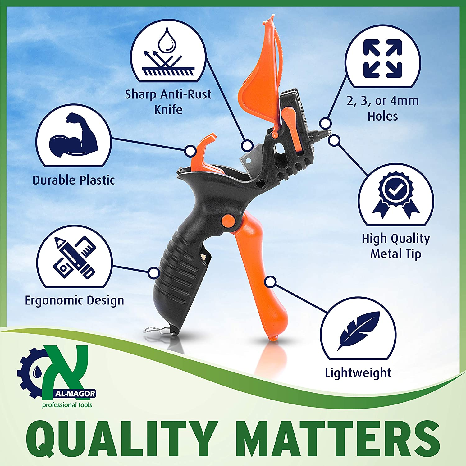 3 in 1 Multitask Punching Cutting Inserting Sprinklers /& Drippers in Irrigation Tube Pipes Model 350030-P 3mm Punch Tip /& Sharp Blade for Cutting AL-MAGOR Trigger TR-3 Garden Tool