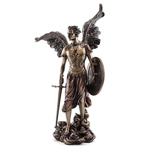 Top Collection St. Michael The Archangel Statue – Michael, Defender of The Church Sculpture in Premium Cold-Cast Bronze – 14-Inch Collectible Angel Figurine