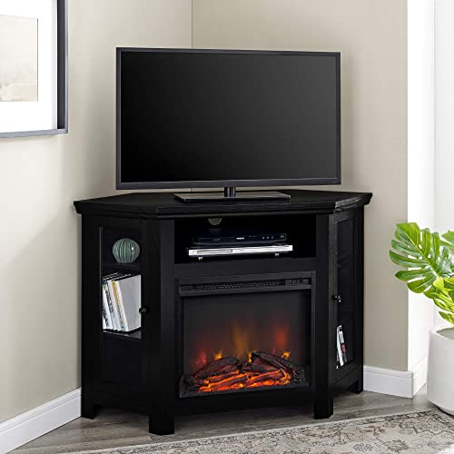 WE Furniture 48 Corner TV Stand Fireplace Console, Black