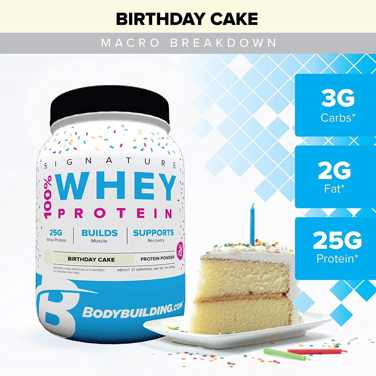 Bodybuilding Signature 100 Whey Protein Powder 25g of Protein per Serving Birthday Cake, 2 Lbs