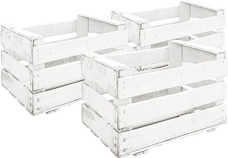 Decowood Pack 6 Cajas en Madera Antigua, Acabado Pintado, Color Blanco, 49x31x35cm, 49x35x31cm, 3 Unidades: Amazon.es: Hogar