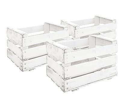 Decowood Set de Cajas de Fruta, Madera, Blanco, 49x35x31 cm, 3 Unidades