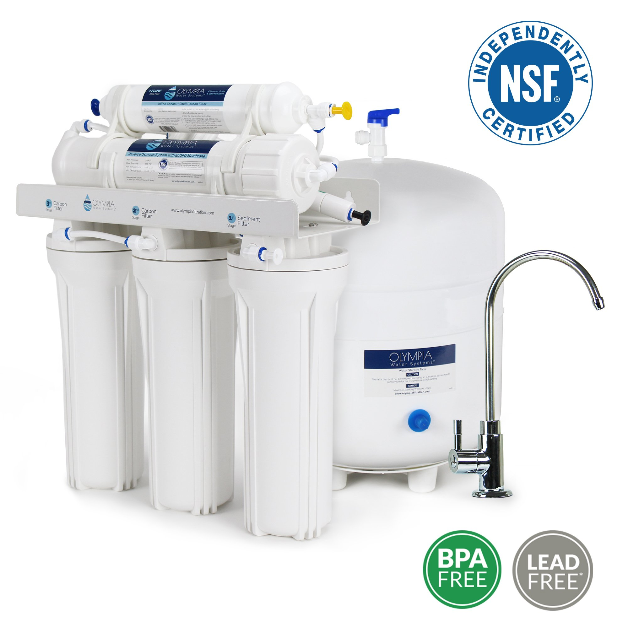 Olympia Water Systems OROS-80 5-Stage Reverse Osmosis Water Filtration System with 80GPD Membrane - NSF Certified
