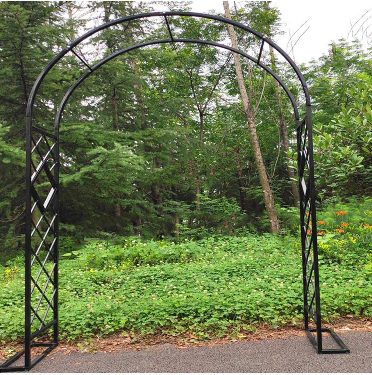 F-XW Garden Arch Metal Arbor Pergola Arbour Trellis Wedding Archway for Climbing Plants Outdoor Garden Lawn Backyard Patio, Black, White