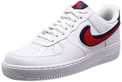 on sale d9075 cad37 Nike Mens Air Force 1 07 Lv8 White, Red and Blue Leather Sneaker 41