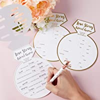 Kate Aspen White Bridal Shower Gold Foil-Ring Shape (Set of 30) Games and Advice Cards, One Size
