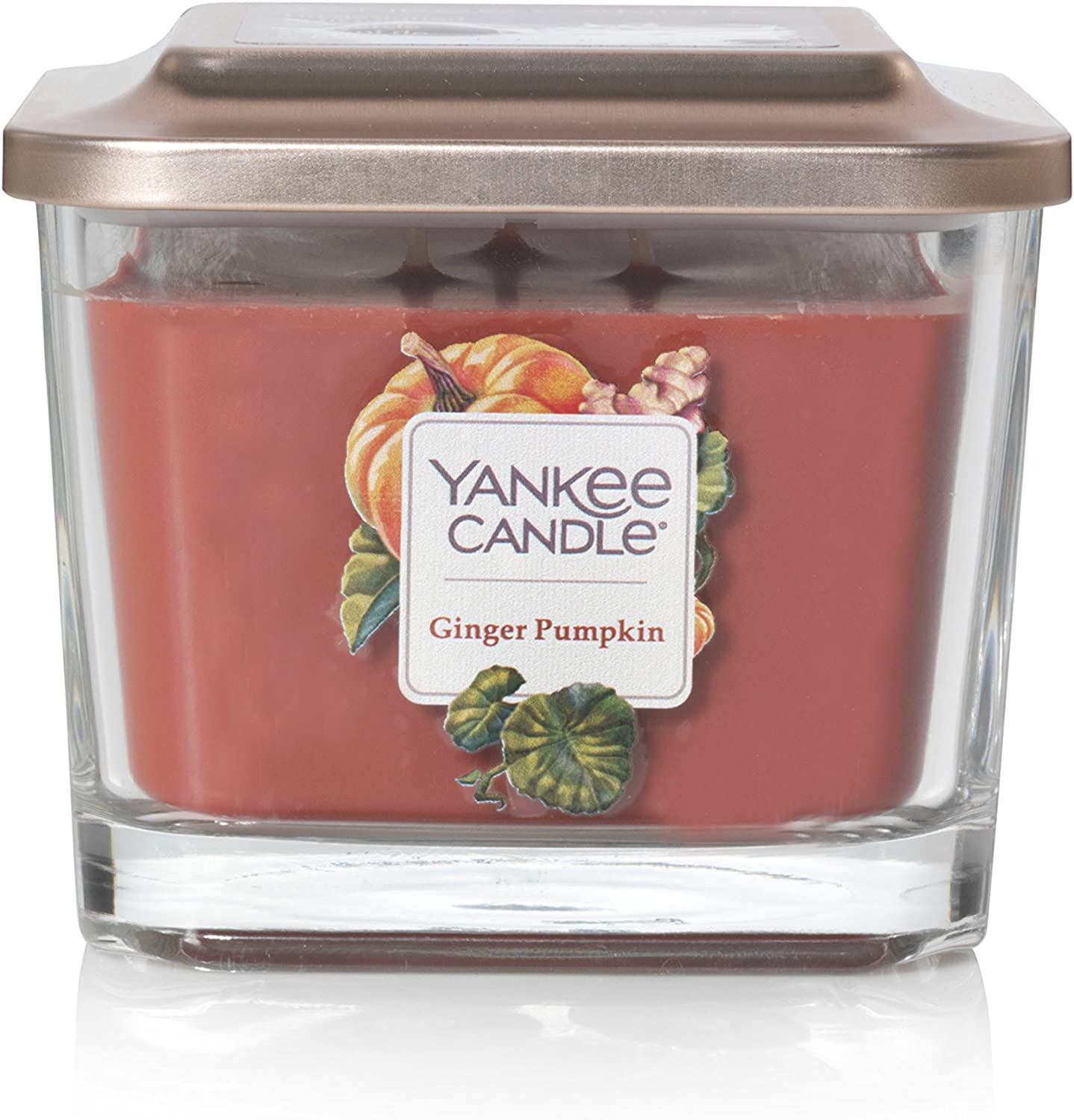 Yankee Candle Elevation Collection with Platform Lid Ginger Pumpkin Scented Candle, Medium 3-Wick, 38 Hour Burn Time