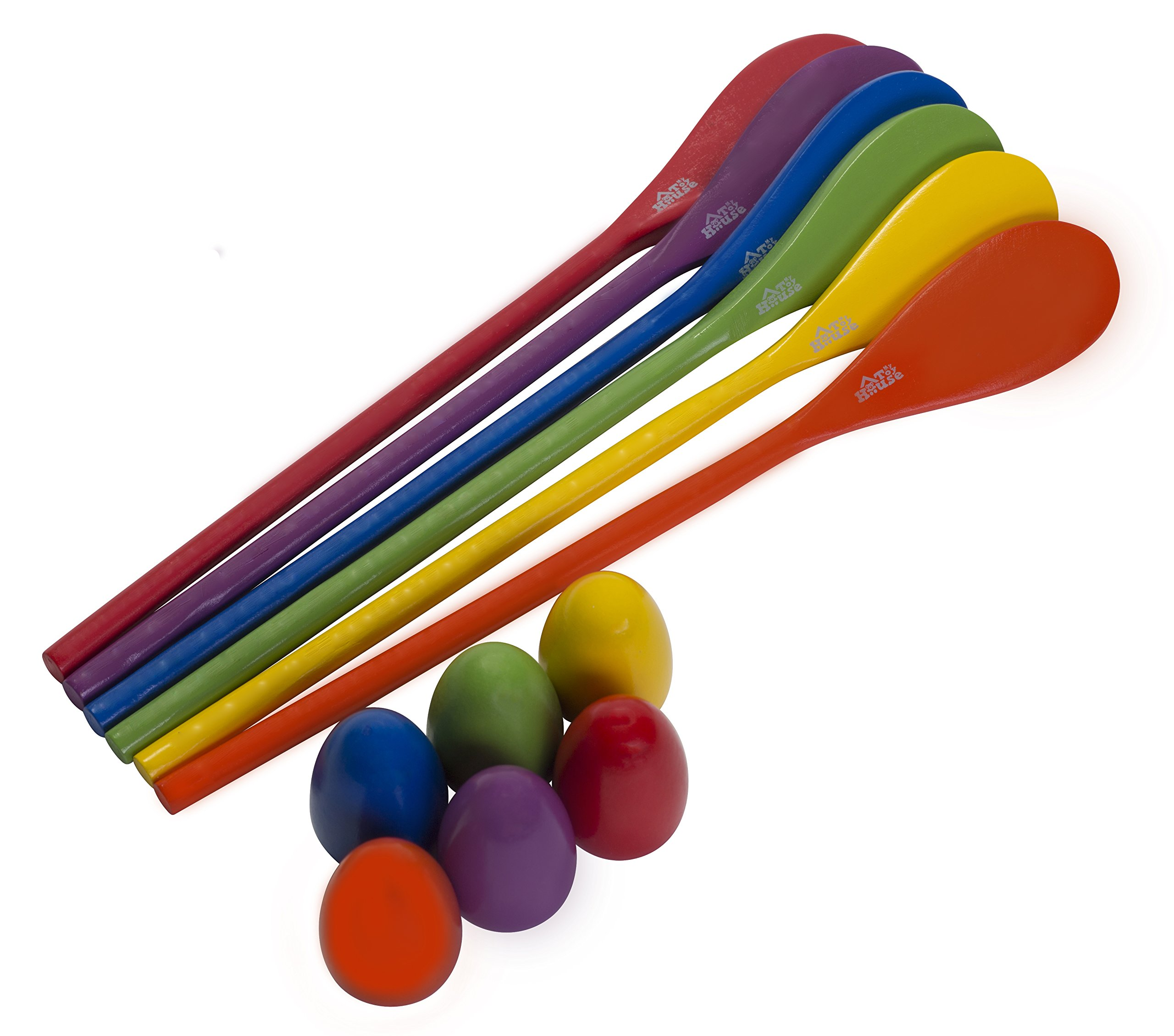 Egg and Spoon Race Game - 6 Eggs and 6 Spoons - Made of the Finest Wood - Fun Game for Parties, Birthdays etc. - Durable, Lightweight | Six Assorted Colors by My Toy House