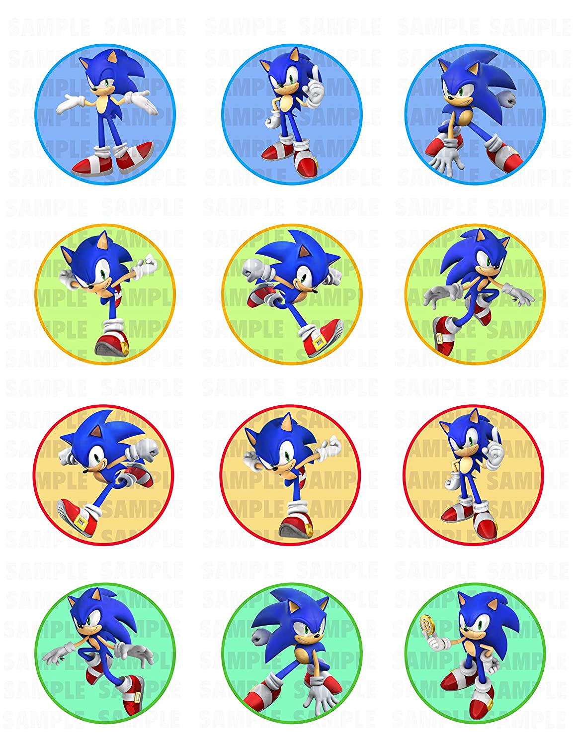 625974b23973 Sonic the Hedgehog Edible Cupcake Toppers (12 Images) Cake Image Icing  Sugar Sheet Edible Cake Images