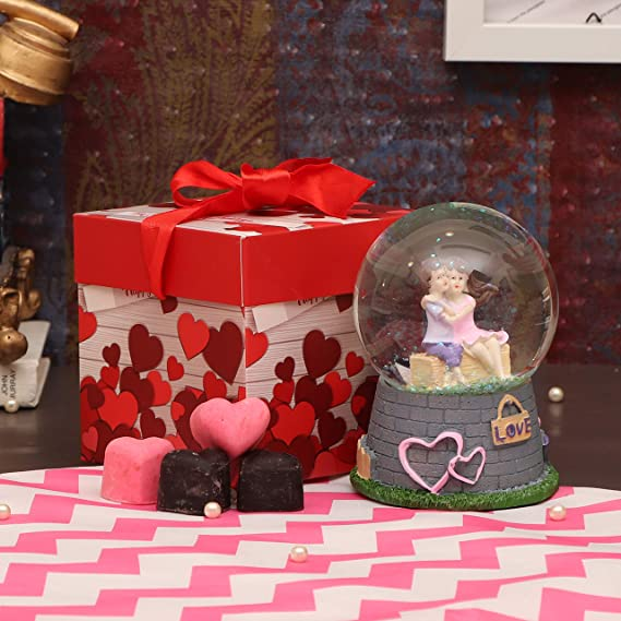 Tied Ribbons Valentines Day Gifts For Girls Boys Boyfriend Girlfriend Husband Wife Snow Globe Couple With Music Romantic Gift Pack Snow Globe Couple Showpiece And Handmade Chocolates Gift Box Amazon In