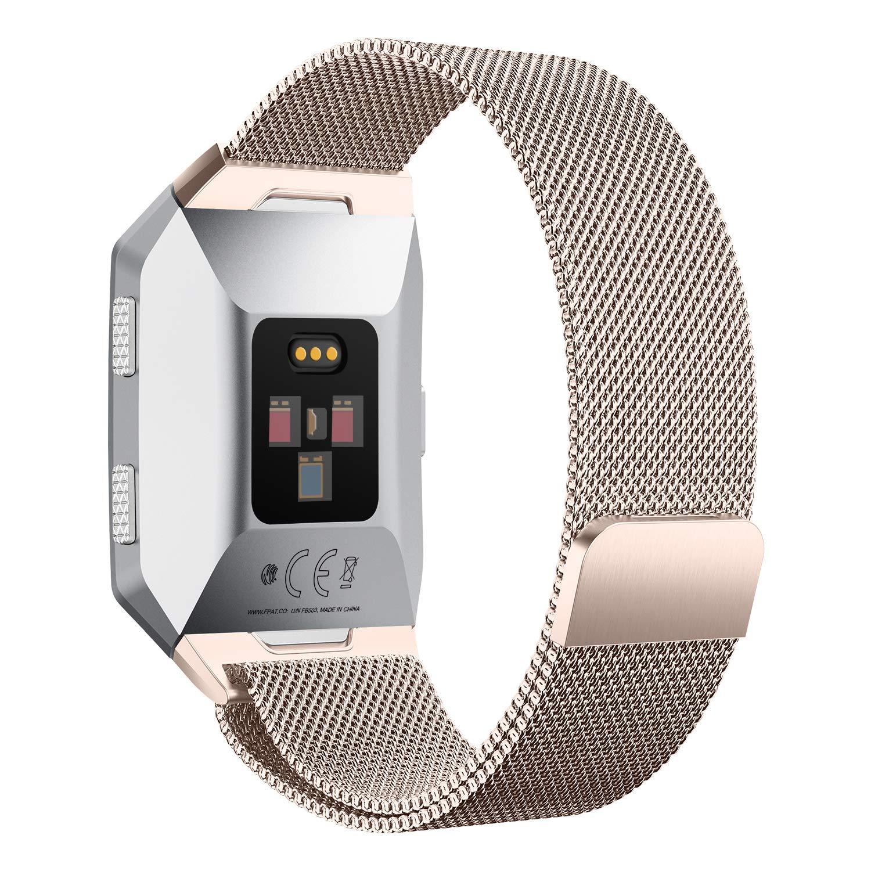 DakTou Fitbit Ionicストラップ クイックリリース ミラネーゼループ ステンレススチールブレスレット 交換用 強力マグネットロック 調節可能な防水時計バンド B07HMVH67Y Retro Gold Small