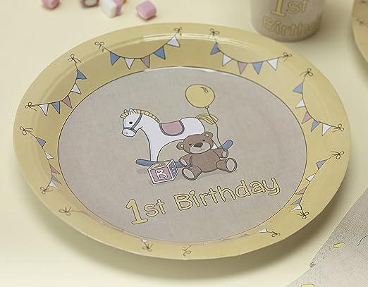 Ginger Ray Platos de papel para fiesta de 1º cumpleaños ...