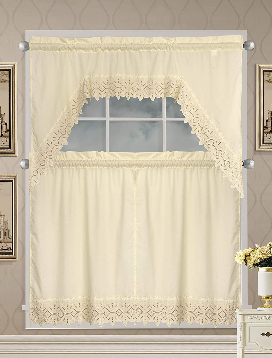 White Luxury Home Collection 3 Piece Embroidered Kitchen Window Curtain Set With 2 Tiers And 1 Valance Battenburg Treatment Sets