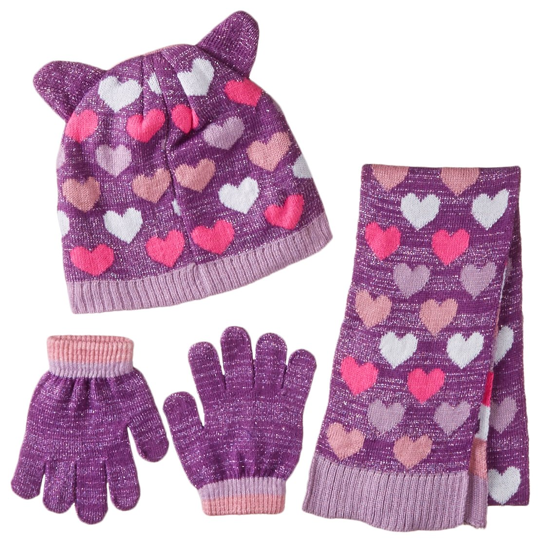 Toby & Company Girls' Critter Inspired 3 Piece Set with Computer Knit Hat, Purple, One Size
