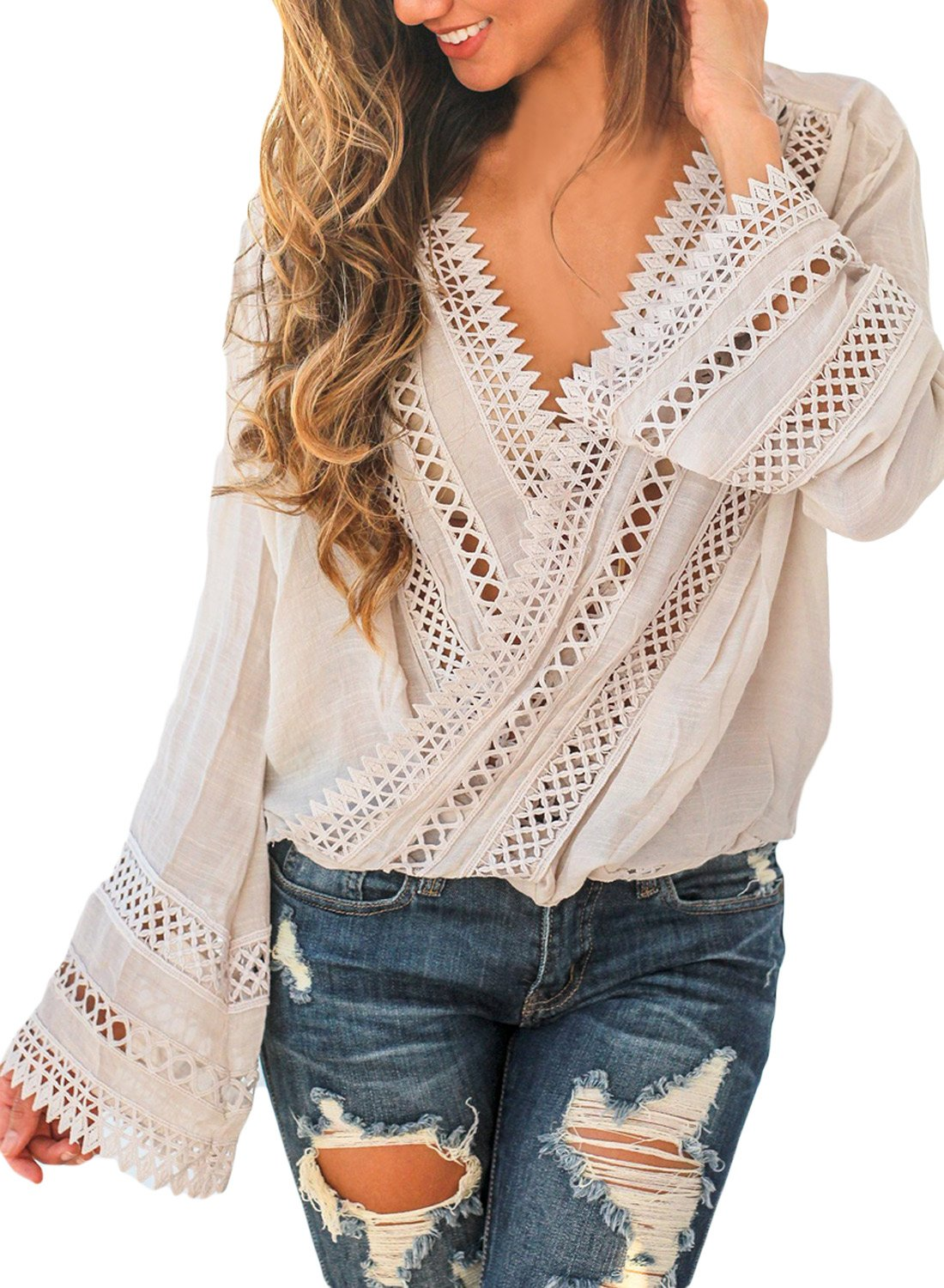 FARYSAYS Women's Crochet V Neck Bell Sleeve High Low Front Wrap Blouses Tops Apricot X-Large