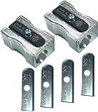 Eisen Aluminum Pencil Sharpener 2 Pcs,blades 4 Pcs,with Plastic Cover