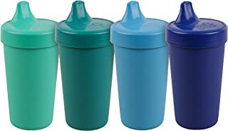 product image for Re-Play Made in The USA 4pk No Spill Sippy Cups for Baby, Toddler, and Child Feeding - Sky Blue, Aqua, Navy, Teal (True Blue+)