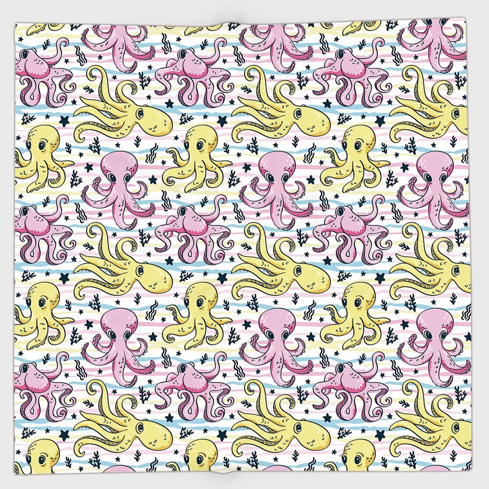 Cotton Microfiber Hand Towel,Octopus,Cartoon Style Sea Life Animal and Plant Pattern Aquatic Scene Creatures Decorative,Pink Yellow Pale Blue,for Kids, Teens, and Adults,One Side Printing